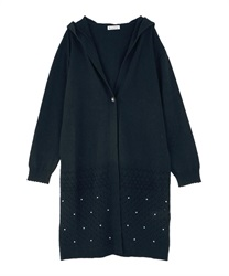 Openwork Pattern Long Cardigan with Hood(Navy-Free)