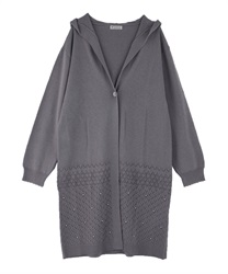 Openwork Pattern Long Cardigan with Hood(Lavender-Free)