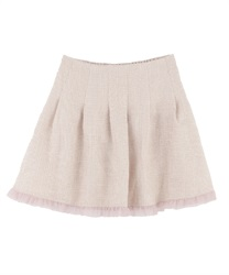【MAX70%OFF】Tweed tulle skirt pants(Pale pink-Free)