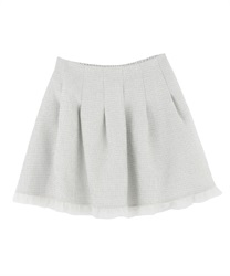 【MAX70%OFF】Tweed tulle skirt pants(Saxe blue-Free)