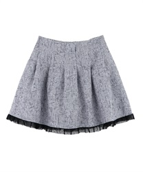 【MAX70%OFF】Tweed tulle skirt pants(Grey-Free)
