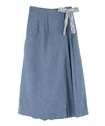Wrap-style Wide Pants(Blue-Free)