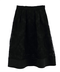 【MAX70%OFF】Ornament Pattern Tucked Skirt