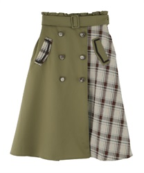 Patchwork design trench skirt(Green-Free)