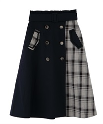 Patchwork design trench skirt(Navy-Free)
