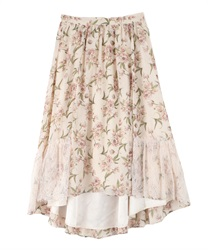 Skirt with floral lace(Beige-Free)