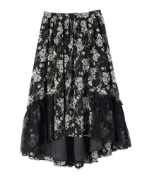 Skirt with floral lace