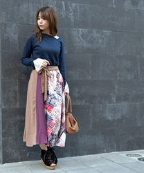 Patchwork midi skirt(Red-Free)
