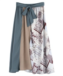 Patchwork midi skirt(Brown-Free)
