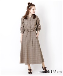 Embroidered Checkered Skirt(Brown-Free)