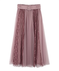 Lace × Tulle Skirt(Pale pink-Free)