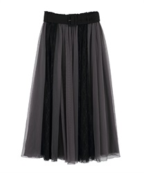Lace × Tulle Skirt(Black-Free)