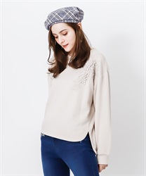 Soild lace pullover(Beige-Free)