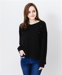 Soild lace pullover(Black-Free)