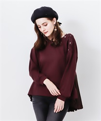 Back schoen with lace pullover(Wine-Free)