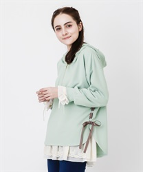 Lace up hoodie pullover(Green-Free)