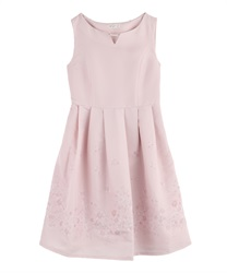 Flower Paneled Pattern Dress(Pale pink-M)