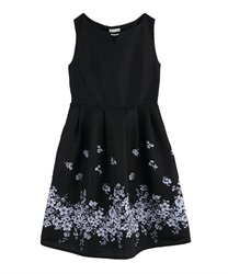 Flower Paneled Pattern Dress(Black-M)