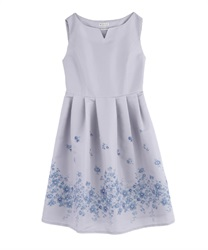 Flower Paneled Pattern Dress(Lavender-M)