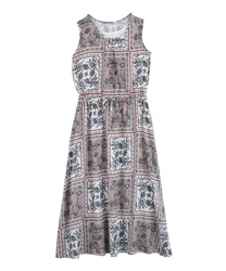 Panel pattern sleeveless long dress(Orange-Free)