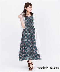Panel pattern sleeveless long dress(Green-Free)