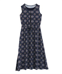Panel pattern sleeveless long dress(Navy-Free)