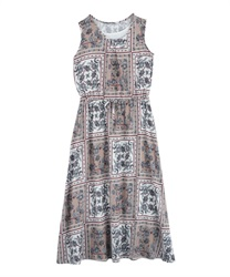 Panel pattern sleeveless long dress