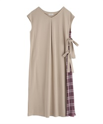 Side Pleated Design Dress(Beige-Free)