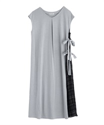 Side Pleated Design Dress(Heather grey-Free)