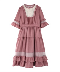 Tulle Design Ruffle Dress(DarkPink-Free)