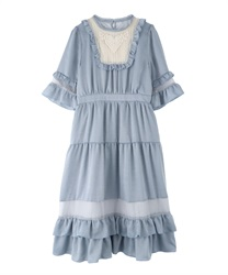 Tulle Design Ruffle Dress(Saxe blue-Free)
