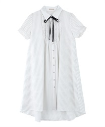 【MAX70%OFF】Message Ribbon Short Sleeve Dress(White-Free)
