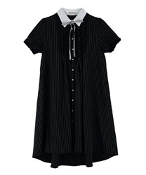 【MAX70%OFF】Message Ribbon Short Sleeve Dress(Black-Free)