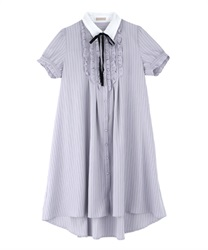 【MAX70%OFF】Message Ribbon Short Sleeve Dress(Lavender-Free)