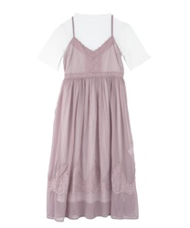 T-shirt dress and cami dress(Pale pink-Free)