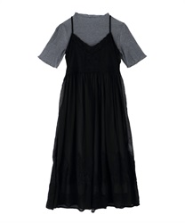 T-shirt dress and cami dress(Black-Free)
