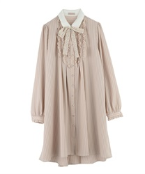 "Shirt Dress with ""Removable Message Printed Ribbon""(Beige-Free)"