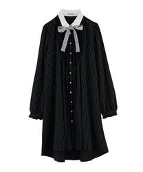 "Shirt Dress with ""Removable Message Printed Ribbon""(Black-Free)"
