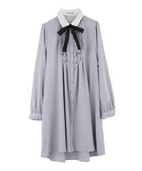 "Shirt Dress with ""Removable Message Printed Ribbon""(Lavender-Free)"