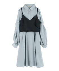 【Uniform price】Shirt dress with bustier(Saxe blue-Free)