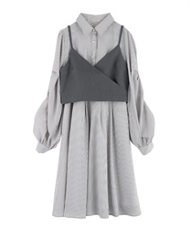 【Uniform price】Shirt dress with bustier(Grey-Free)