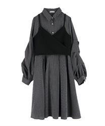 【Uniform price】Shirt dress with bustier(Black-Free)