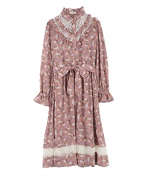 Floral Patterned Long Length Dress with Frill Yoke(Pale pink-Free)