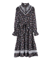 Floral Patterned Long Length Dress with Frill Yoke(Navy-Free)