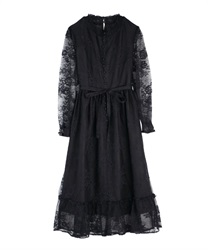 【10%OFF】Shirring collar lace one-piece(Black-Free)