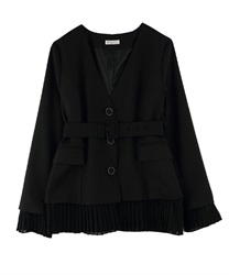 "【MAX70%OFF】2WAY Blazer ""Removable Pleated-Hem""(Black-Free)"