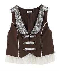 "【MAX70%OFF】Napoleon Vest with ""Removable Lace""(Brown-Free)"