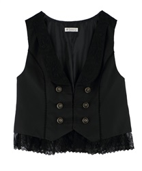 "【MAX70%OFF】Napoleon Vest with ""Removable Lace""(Black-Free)"