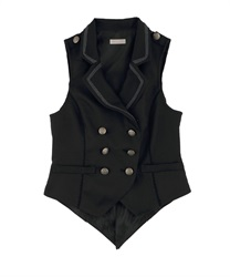 Back Lace Design Vest(Black-Free)