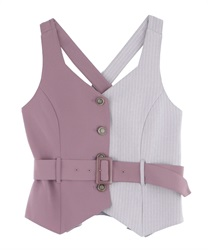 Bi-Collar Vest with Belt(Purple-Free)